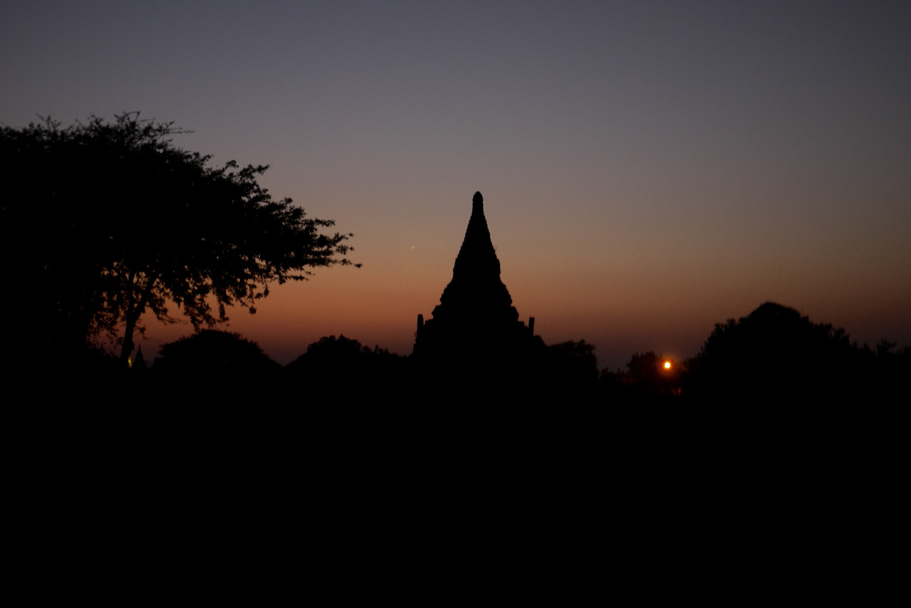 A temple silhouette in Bagan, Burma (Myanmar)