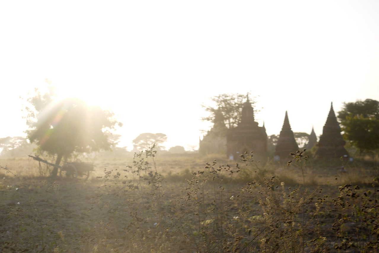 The bright sun washed out the landscape in the hours before sunset in Bagan, Burma (Myanmar)