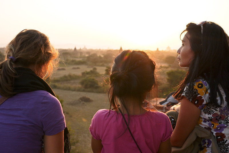 Reflecting on the day at a sunset in Bagan, Burma (Myanmar)