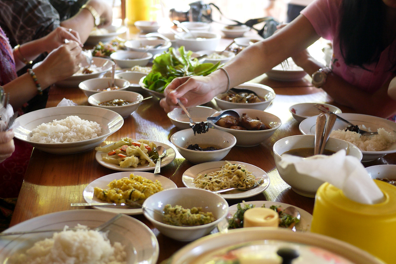 A family-style buffet lunch in Bagan, Burma