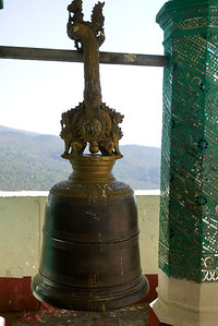 A bell in the  Popa Taungkalat (Taung Kalat) Shrine on the top of Mount Popa in Bagan, Burma (Myanmar)