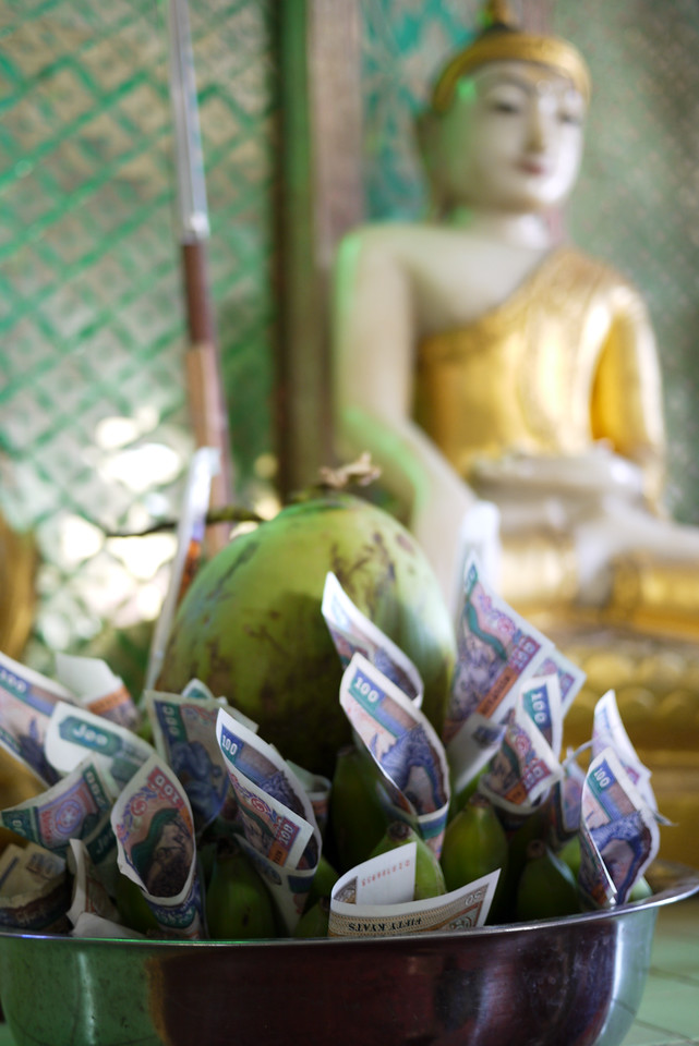 A coconut and Burmese money is a traditional temple offering. On Mt. Popa, Bagan.