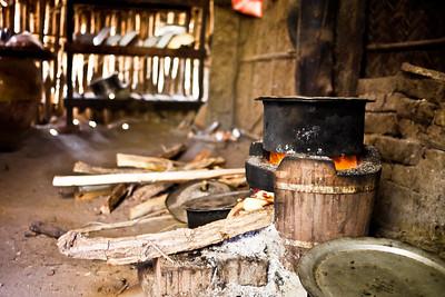 A pot of sugar boils for candy making in Bagan, Burma (Myanmar)