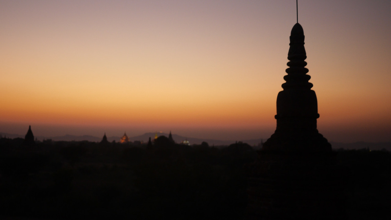 A temple silhouetted in Bagan, Burma (Myanmar)