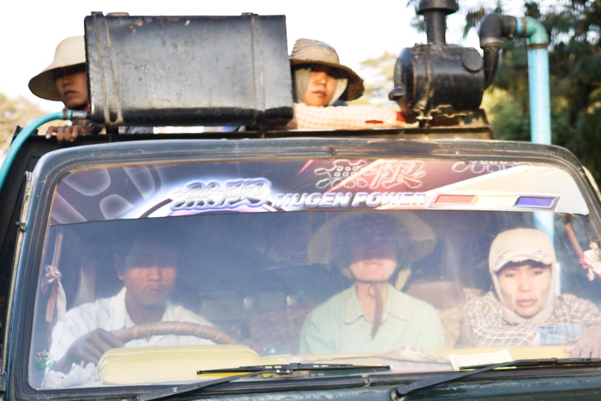 A truckload of people in Bagan, Burma (Myanmar)