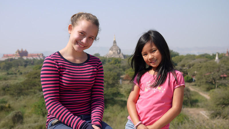 Ana and M with Thatbyinnyu Temple temple in the background in Bagan, Burma (Myanmar)
