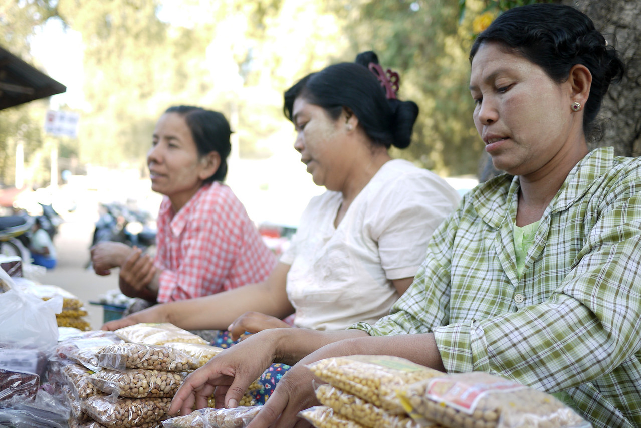 Women selling sweets and snacks in Bagan, Burma (Myanmar)
