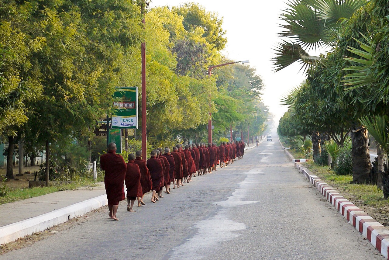 Monks during the almsgiving in Bagan, Burma (Myanmar)