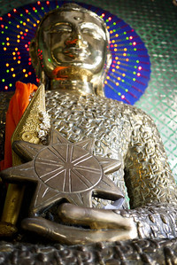 A Buddha statue comprised of many other tiny Buddha images at  Popa Taungkalat Shrine on Mt. Popa in Bagan, Burma (Myanmar)