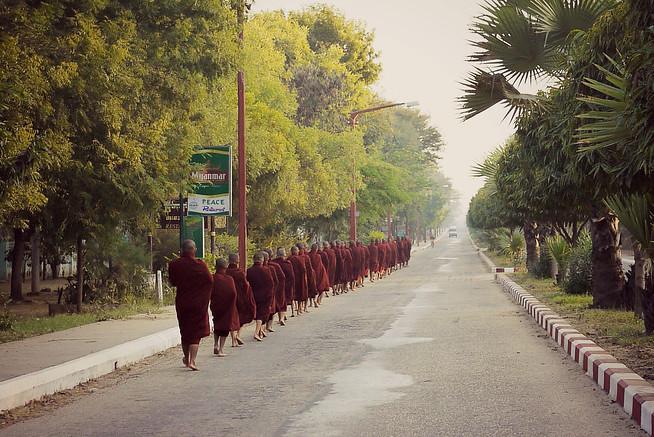 Monks almsgiving Bagan, Burma