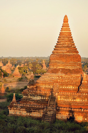 Sunset at the temples in Bagan, Myanmar.