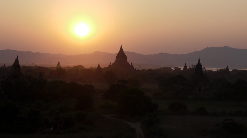 Sunset from Shwesandaw Pagoda in Bagan, Burma (Myanmar)