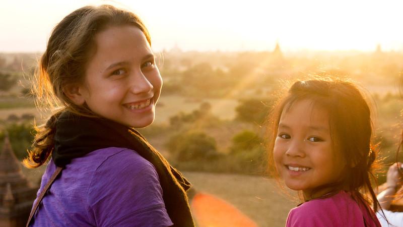 Ana and M in Bagan, Burma (Myanmar)