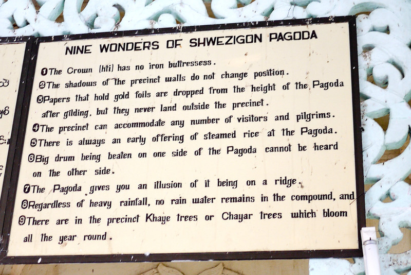 Shwezigon Pagoda sign in Bagan, Burma (Myanmar).