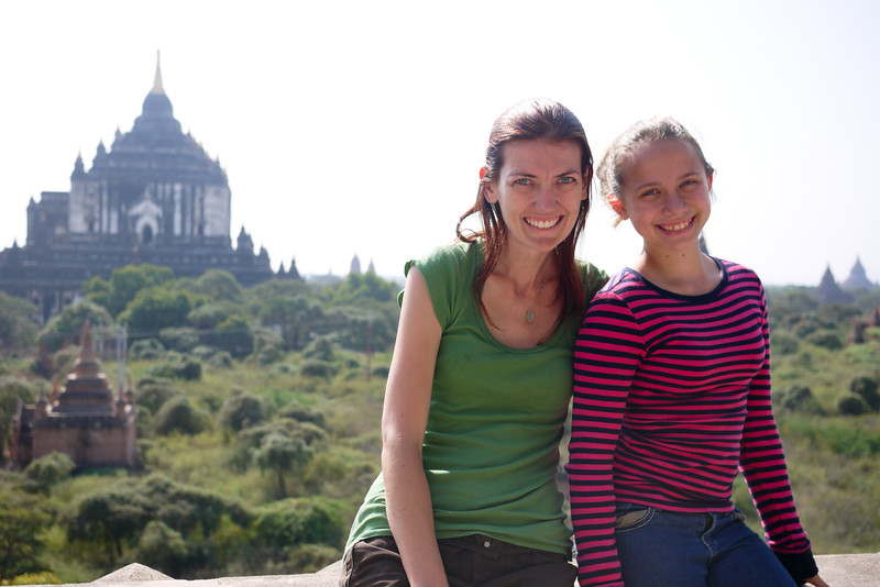 Thatbyinnyu Temple temple in the background in Bagan, Burma (Myanmar)
