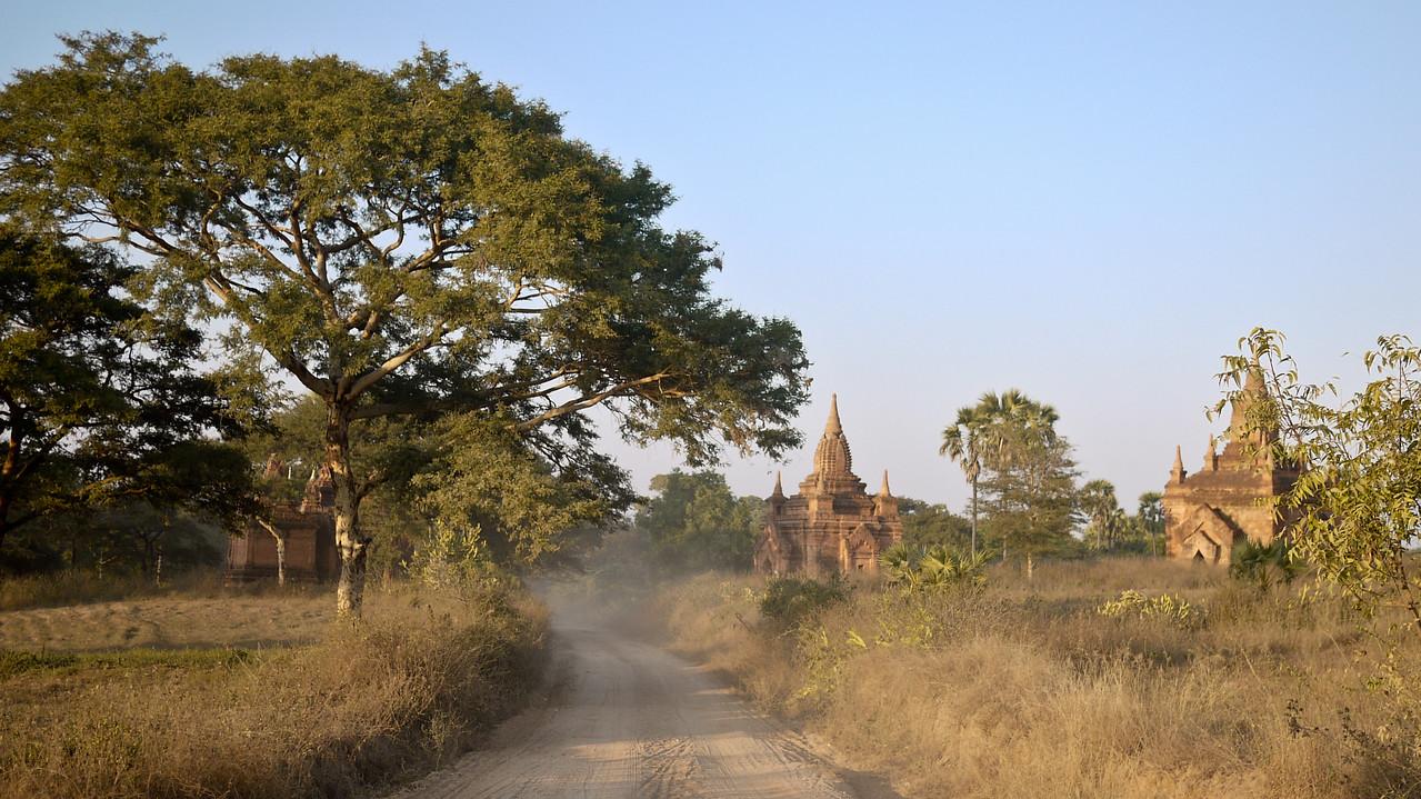 The dusty dirt roads through the temples in Bagan, Burma (Myanmar)