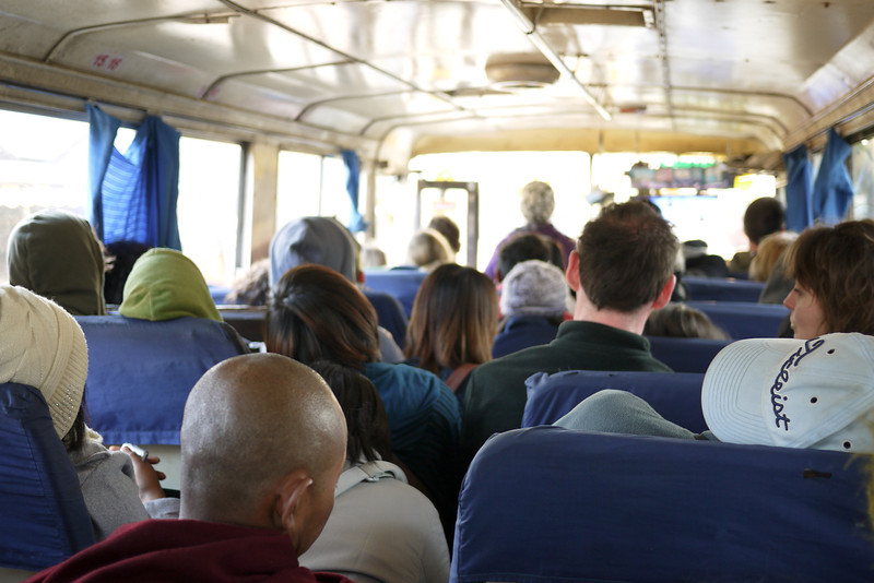 A very crowded bus ride in Bagan, Burma (Myanmar)