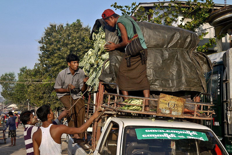 A truck is packed to the gills with veggies in Hpa-An, Burma.