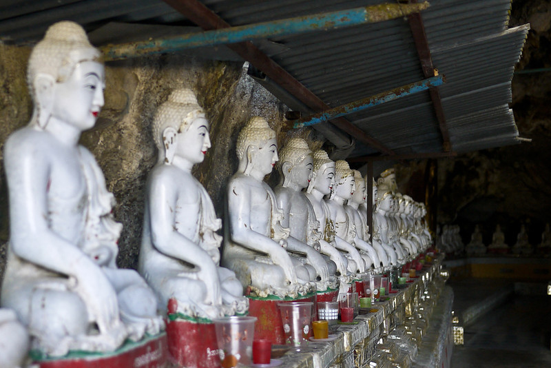 Buddha statues in the Kaw Ka Taung Cave near Hpa-An, Burma on a daytrip from the Soe Brothers guesthouse.