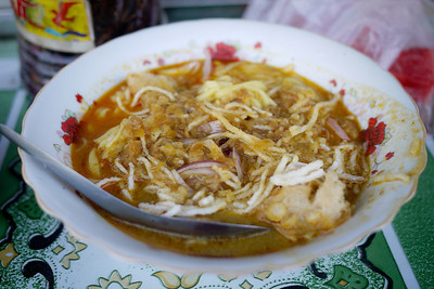 Delicious soup for breakfast near the Soe Brothers Guesthouse in Hpa-An, Burma.