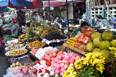 Early morning market stalls in Hpa-An, Burma.