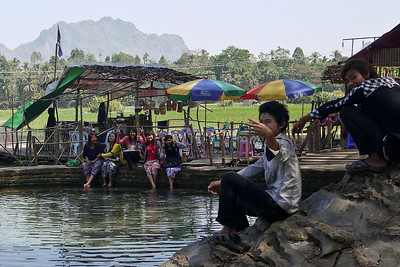 Local teenagers at the swimming hole near Hpa-An, Burma.