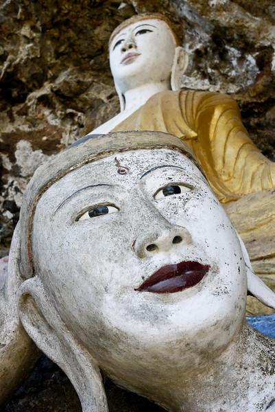 A reclining Buddha near in Hpa-An, Burma.