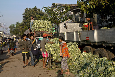 Vegetables from the countryside are brought into the market for sale in Hpa-An, Burma.