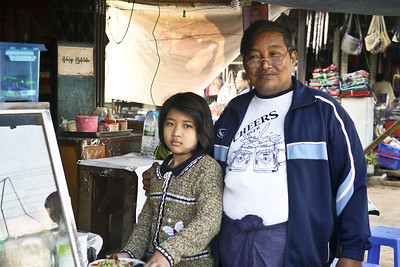 A father and daughter at their small restaurant in Hpa-An, Burma, near the Soe Brothers guesthouse. Delicious soups!