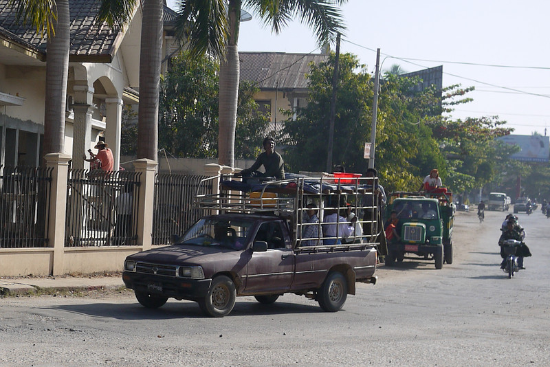 Traffic and cars in a round-about in Hpa-An, Burma.