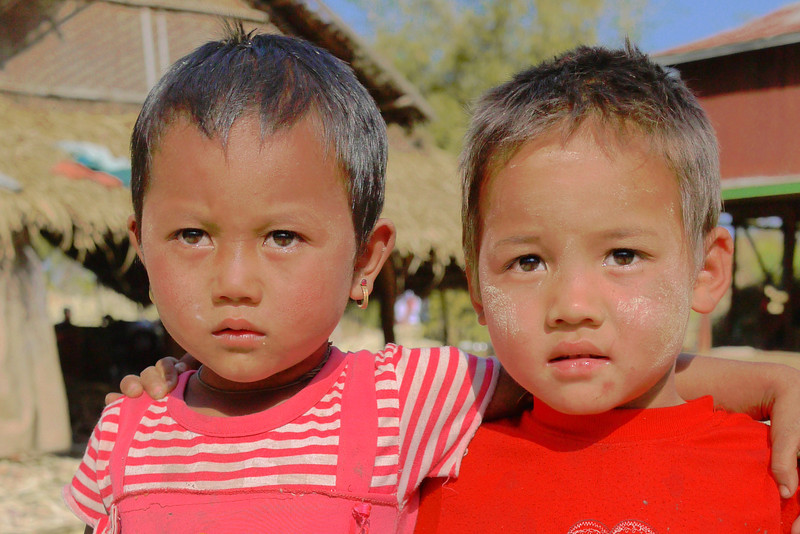 "These kids are actually excited to see us and have their photo taken, this is just their ""serious"" face for the camera! Near Nyaung Shwe, on Inle Lake, Burma (Myanmar)."