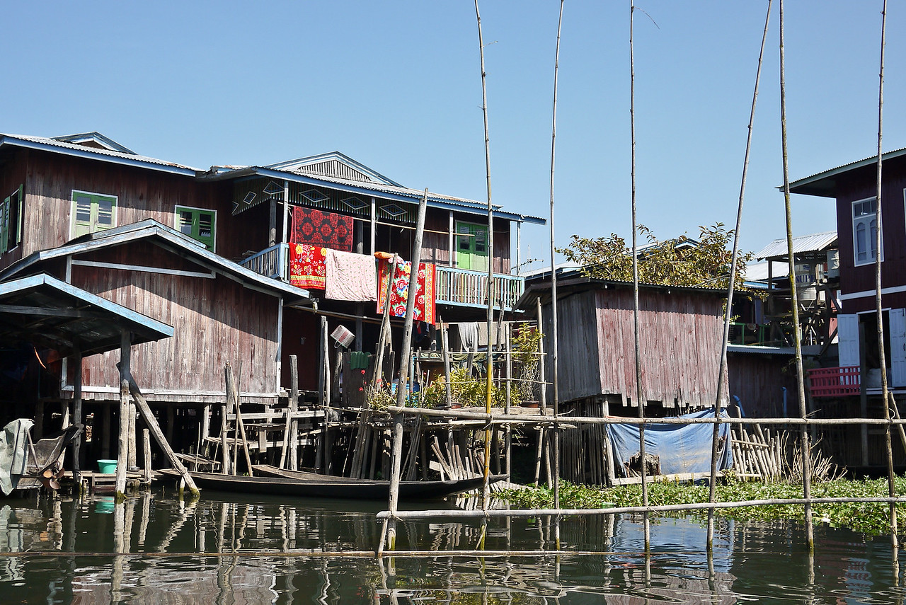 A scattering of houses on stilts on Inle Lake, Burma (Myanmar).