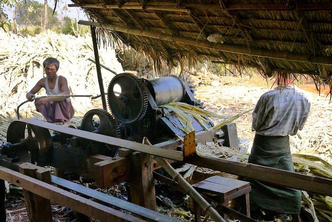 Sugarcane juicing machine, Burma