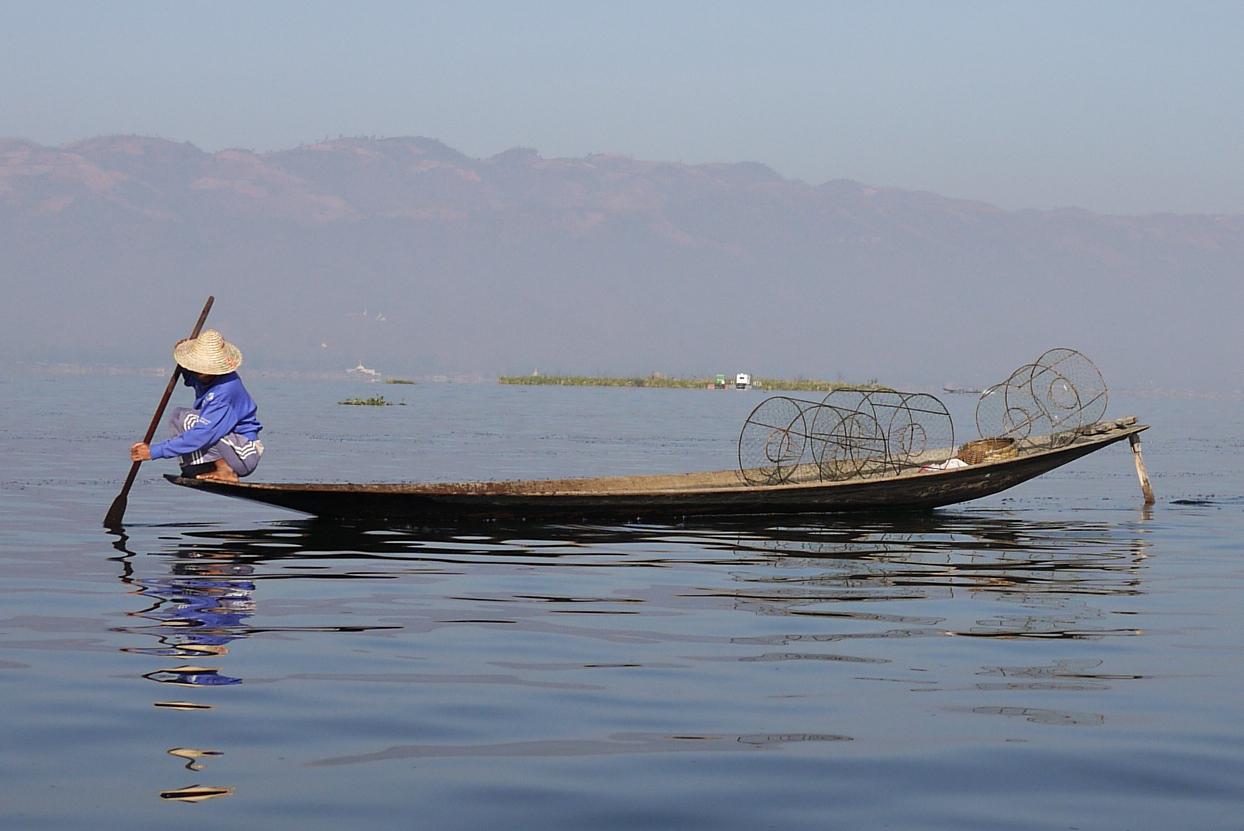 Boats on Inle Lake, Burma (Myanmar).