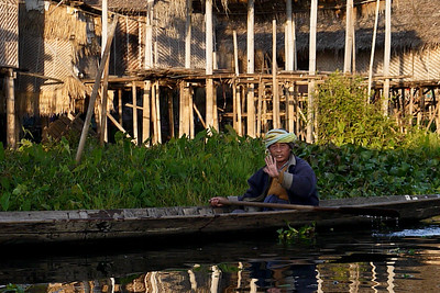 A friendly hello and smile on Inle Lake, Burma (Myanmar).