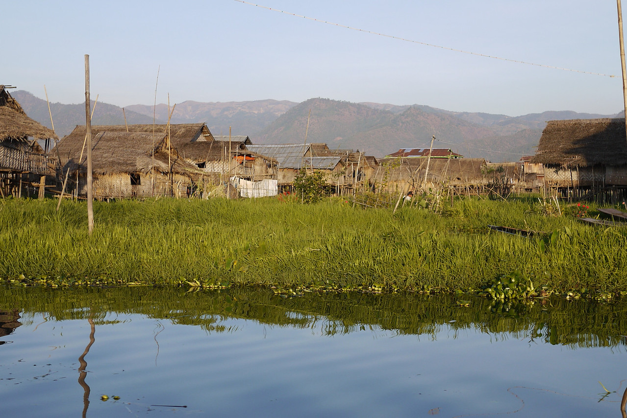The tall huts and wooden houses on Inle Lake, Burma (Myanmar).