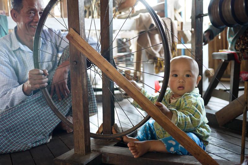 A weaving shop on Inle Lake, Burma (Myanmar).
