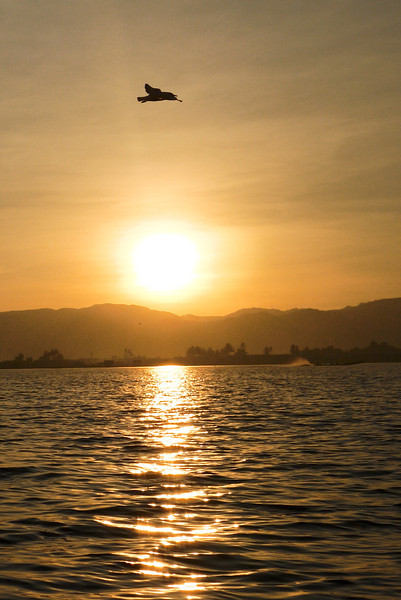 Sunset on Inle Lake, Burma (Myanmar).