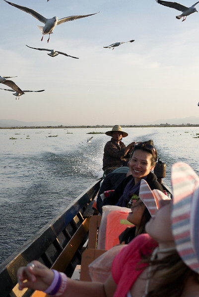 Feeding the seagulls from our boat on Inle Lake, Burma (Myanmar).
