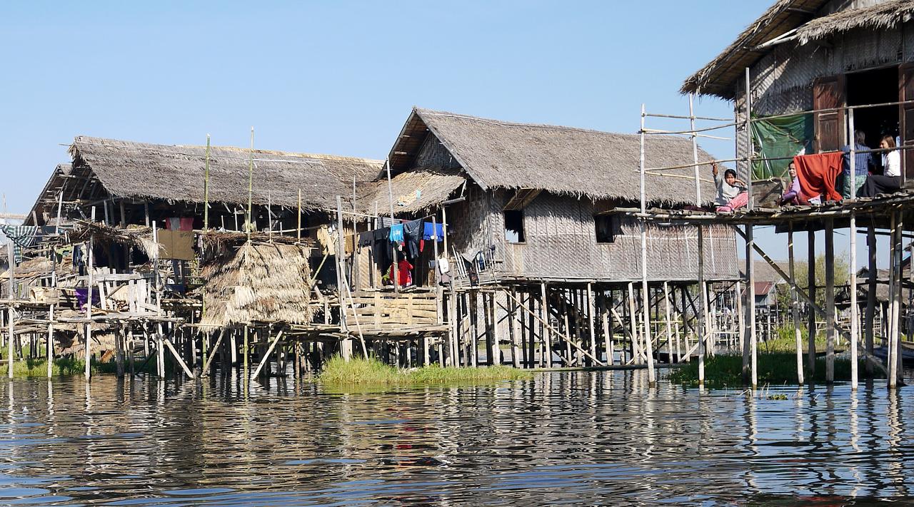 A village on stilts in the marshy waters on Inle Lake, Burma (Myanmar).