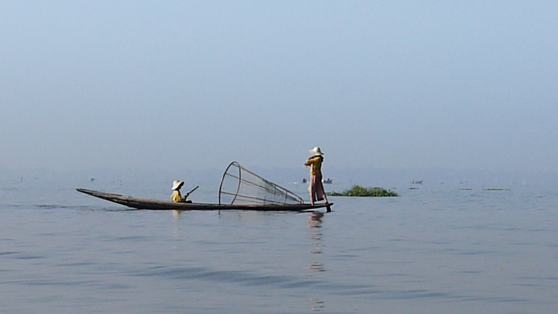 Traditional fisherman on Inle Lake, Burma (Myanmar).