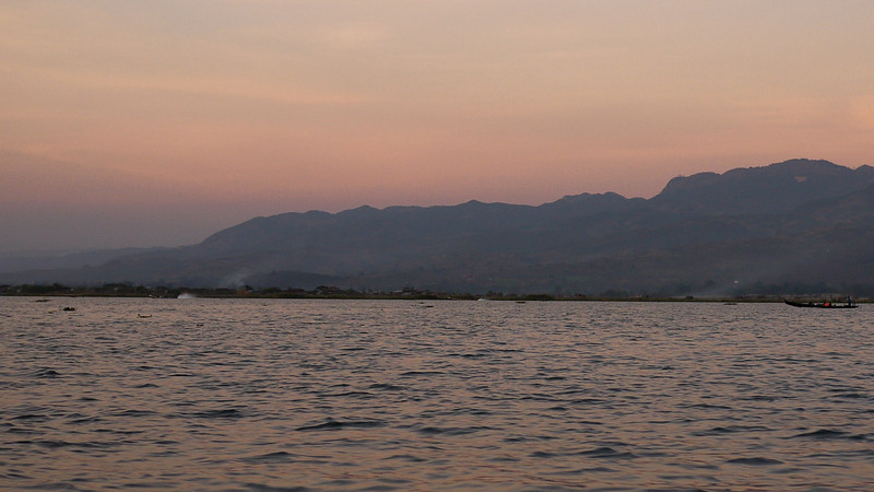 Sunset over the mountains around Inle Lake, Burma (Myanmar).