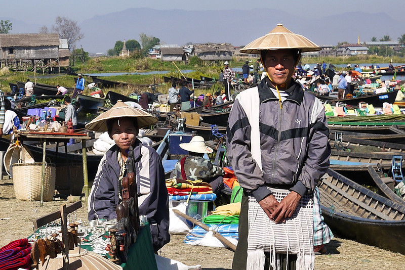 Market vendors on Inle Lake, Burma (Myanmar).