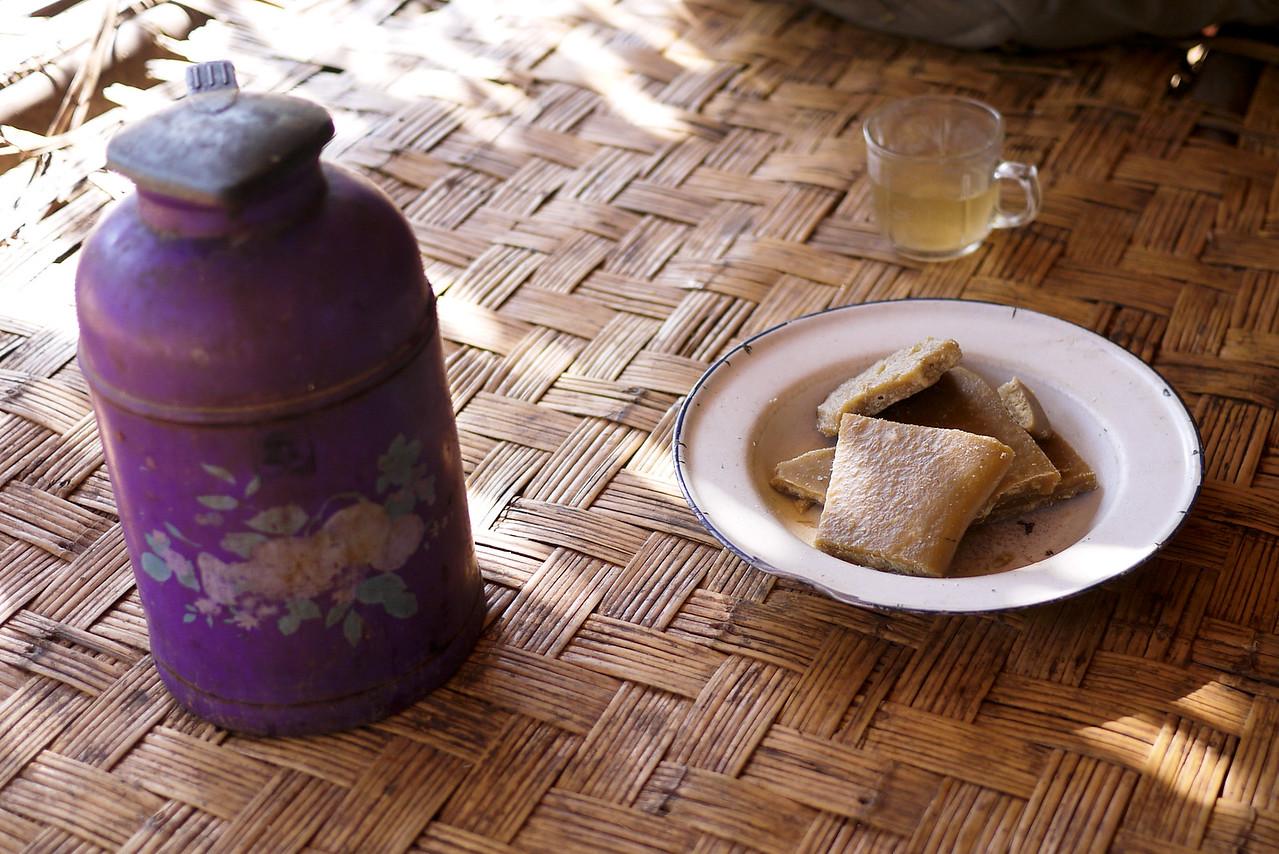 Tea and jaggery candies at Inle Lake, Burma (Myanmar).