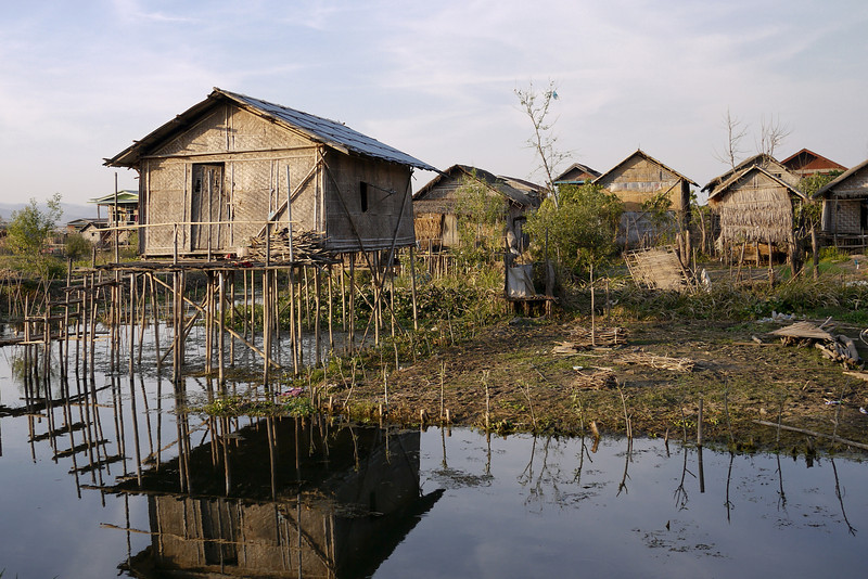 Stilt houses in the marshy waters around Inle Lake, Burma (Myanmar).