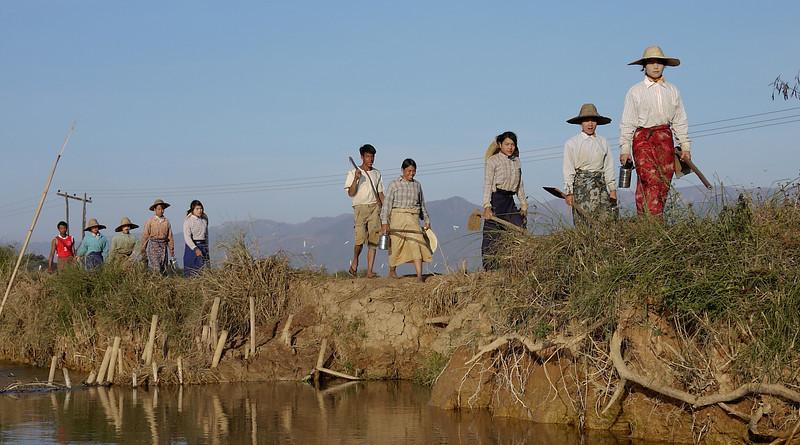 Workers return home in the late afternoon on Inle Lake, Burma (Myanmar).