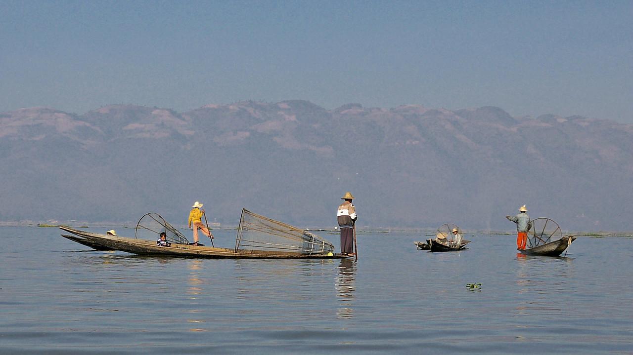 Fishermen, their boats and nets Inle Lake, Burma (Myanmar).