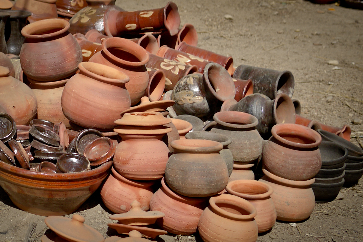 A collection of clay pots for sale in Inle Lake, Burma (Myanmar).