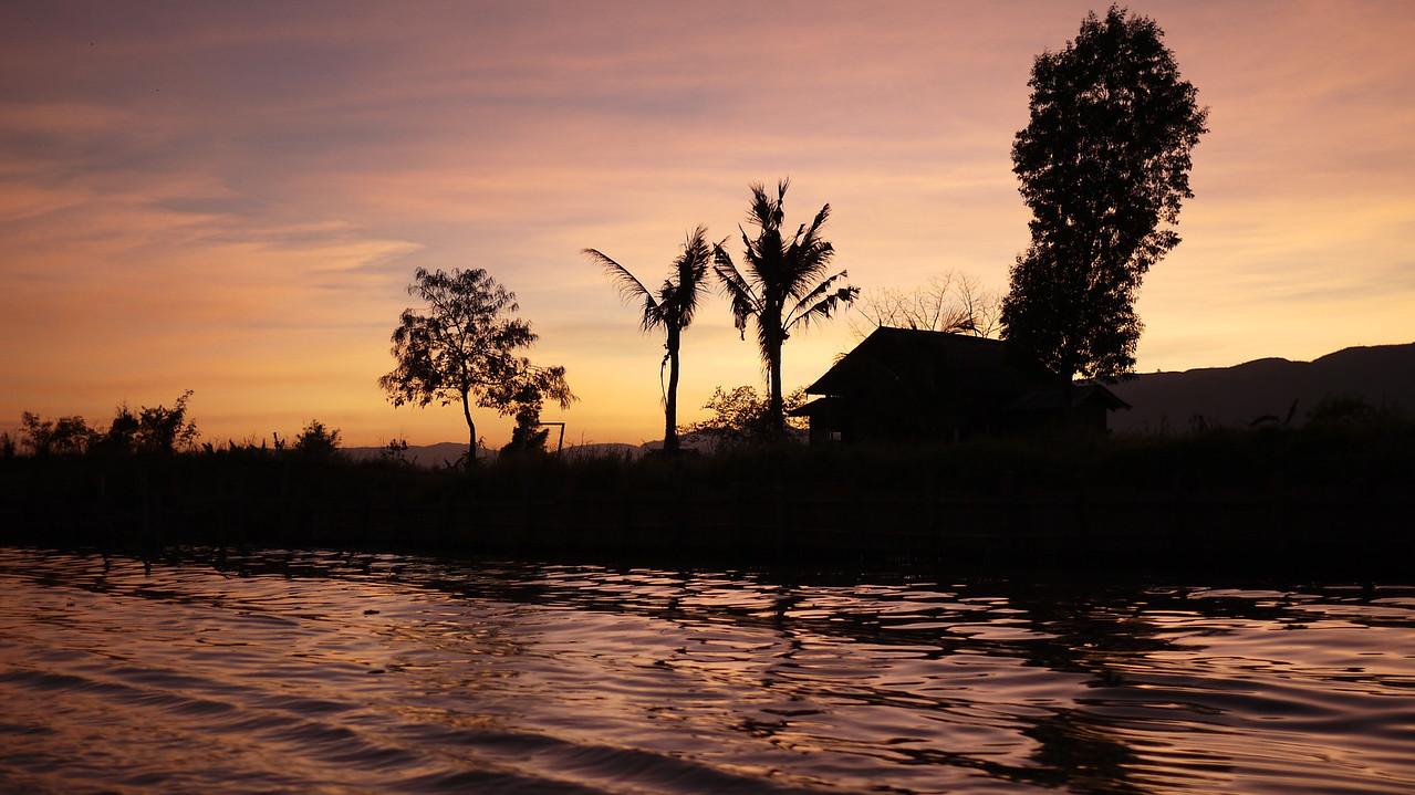 The sunset on Inle Lake, Burma (Myanmar).