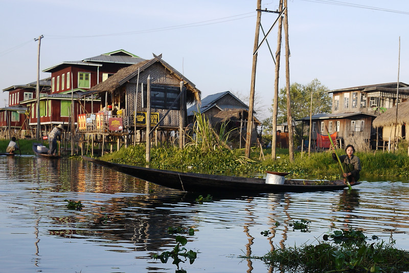 Houses and villages on the water in Inle Lake, Burma (Myanmar).